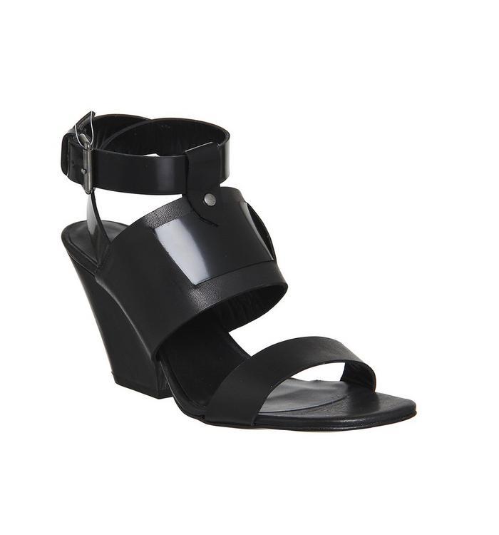 Poste Mistress Poste Mistress Nyla Block Heel Sandal BLACK LEATHER WOOD HEEL