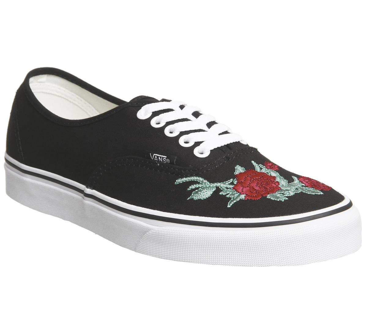 Vans Authentic Trainers Black Red Rose