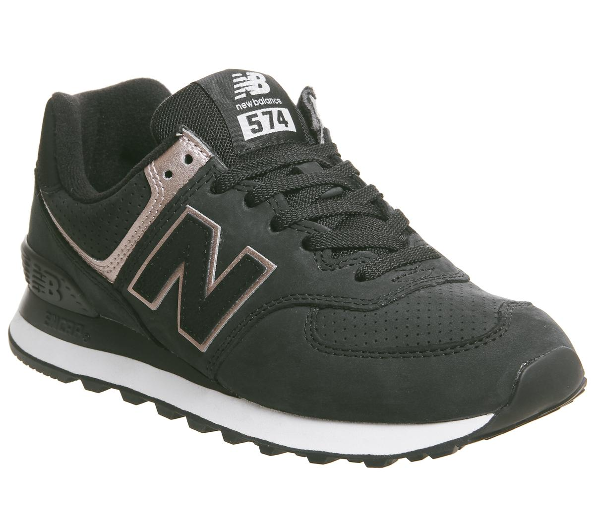caravana referir colina  New Balance 574 Trainers Black White Rose Gold - Hers trainers