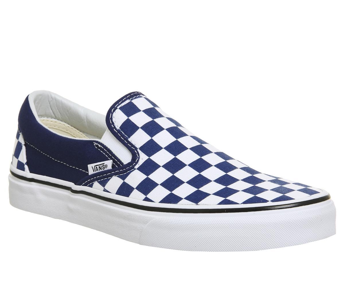 blue and white vans slip ons