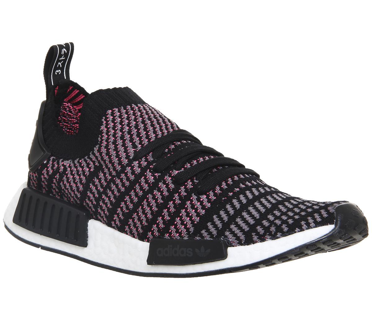Mens Adidas Nmd R1 Prime Knit Clear Black Grey Solar Pink