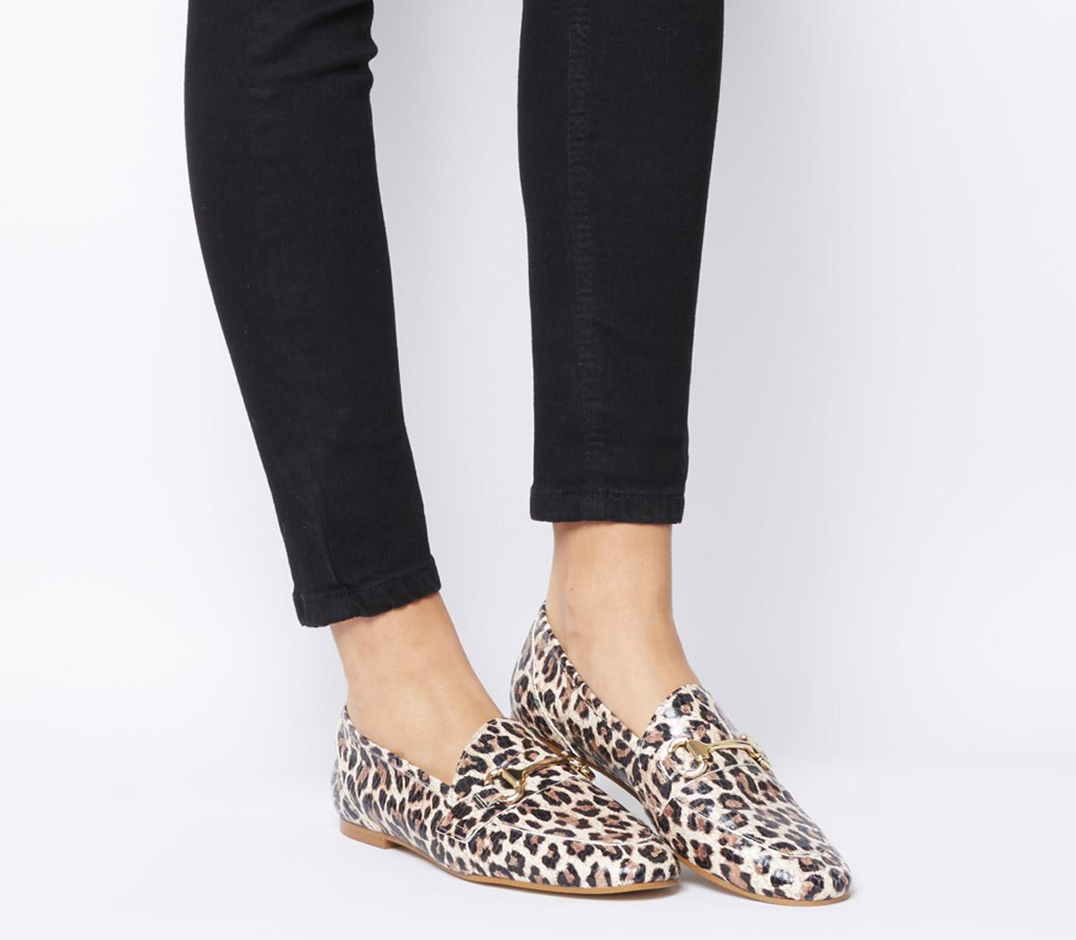 Womens Office Destiny Trim Loafers Summer Leopard Leather Flats