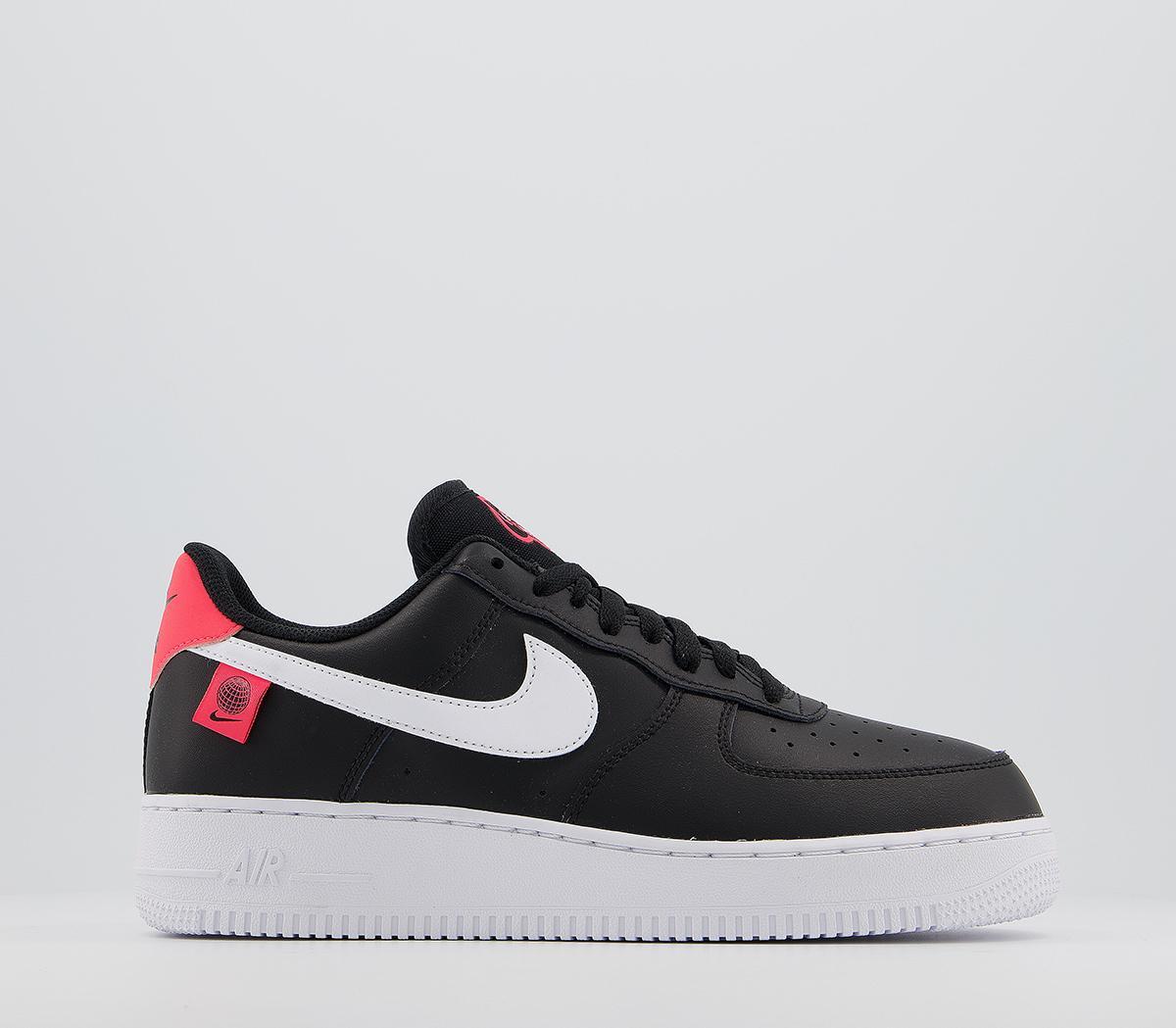 silencio bordado Ministro  Nike Air Force 1 07 Trainers Black White Flash Crimson - His trainers