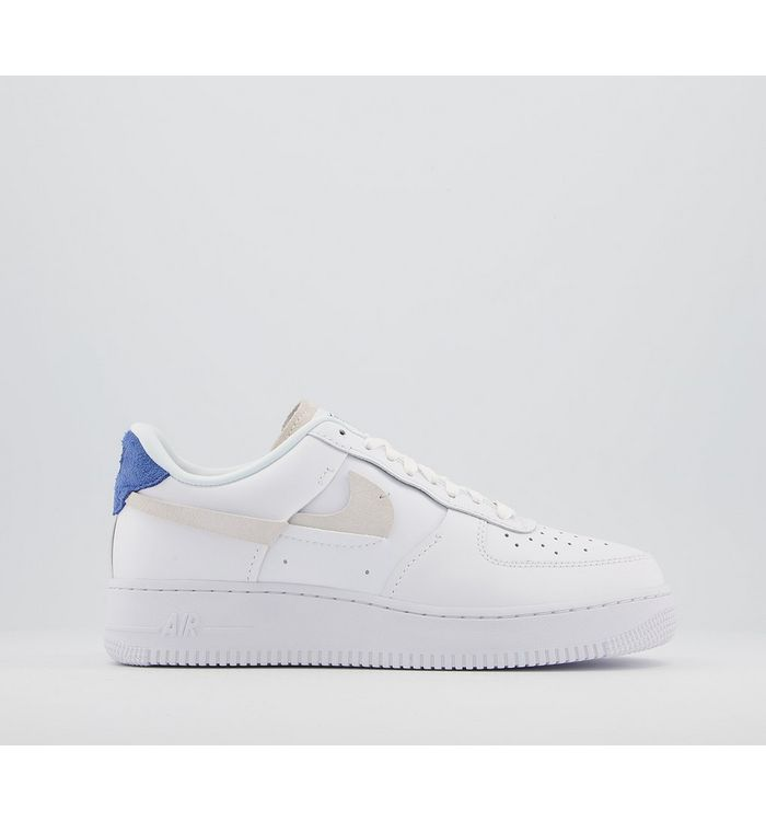 Nike Air Force 1 07 Trainers WHITE PLATINUM TINT GAME ROYAL RED,White,Multi