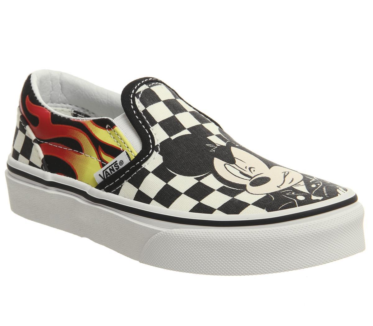 católico Huracán Locura  Vans Classic Slip On Kids Trainers Mickey And Minnie Checker Flame Disney -  Unisex