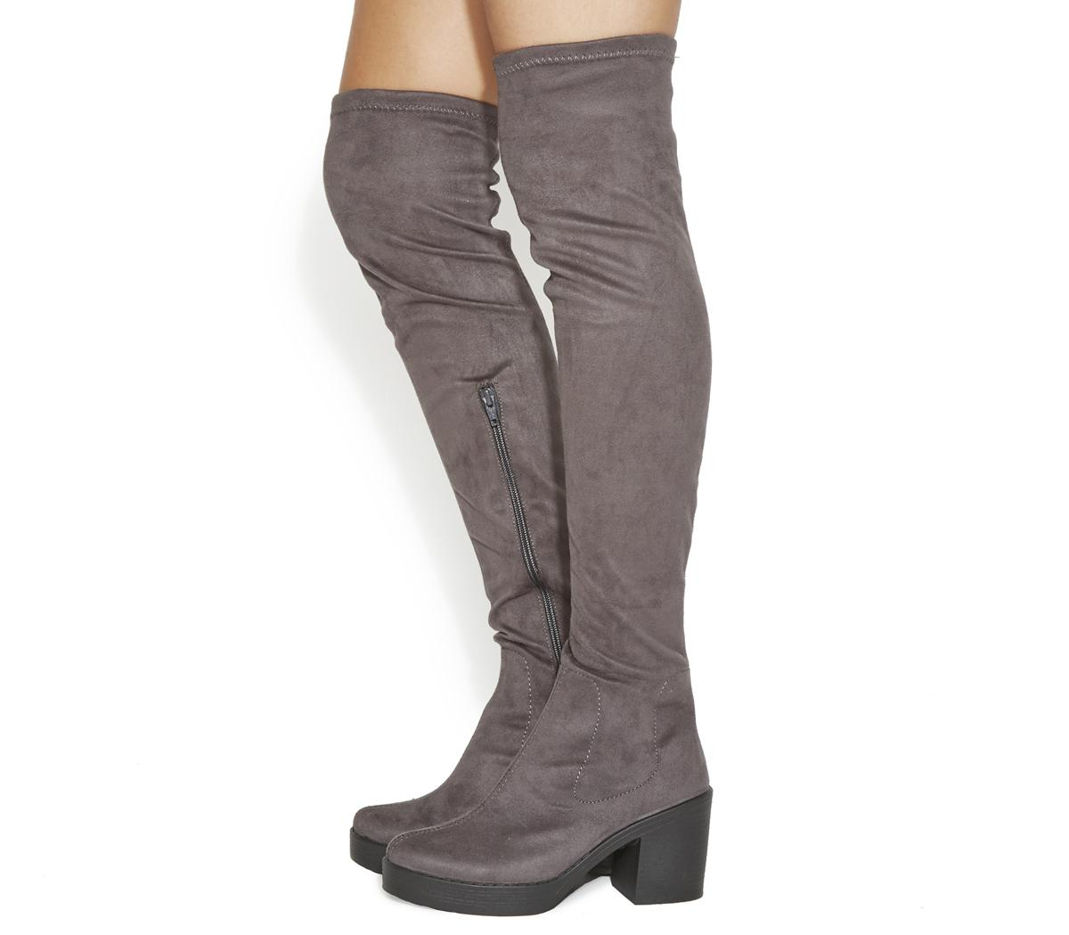 Knee Boots Grey - Knee High Boots
