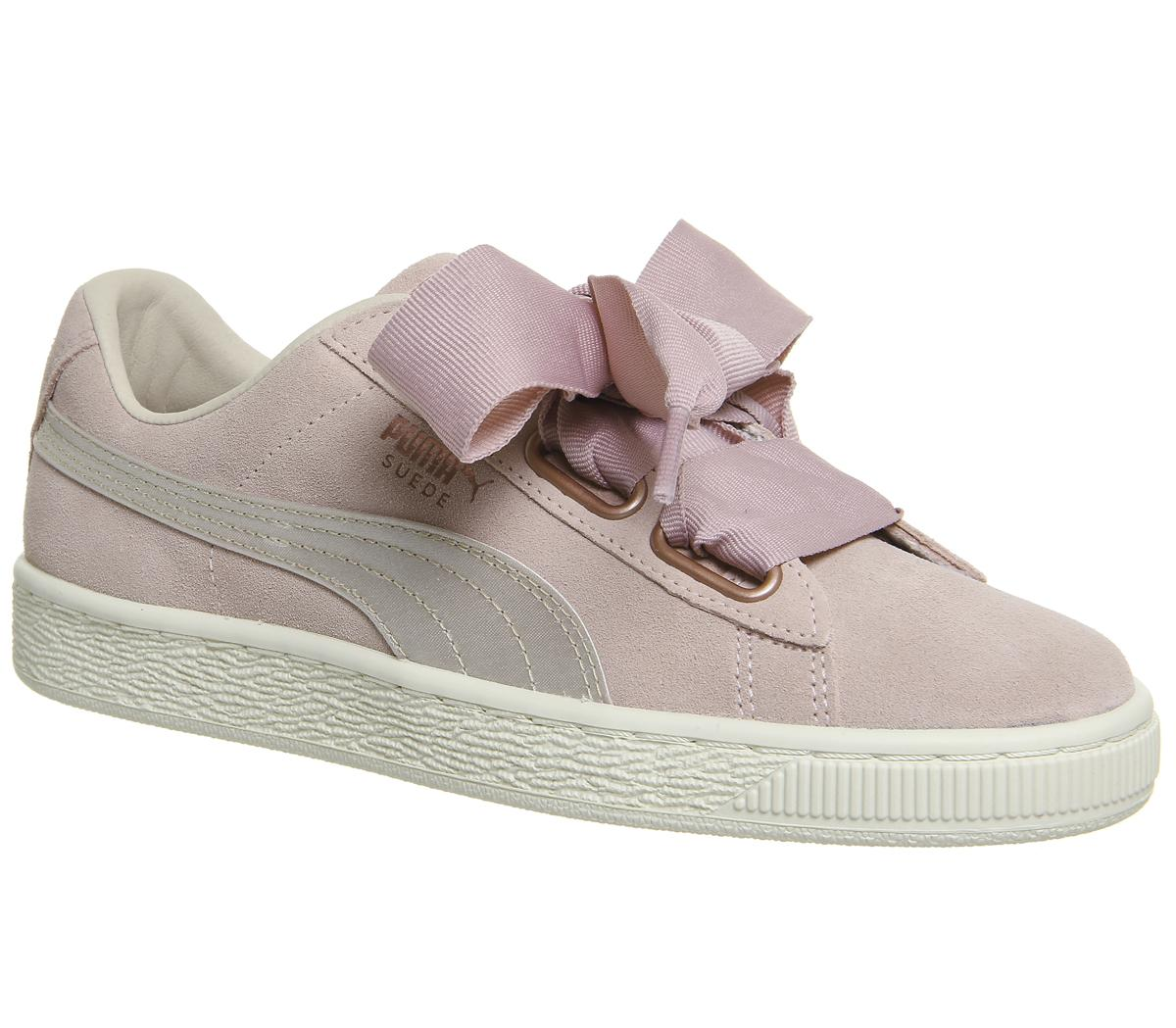 Puma Suede Heart Trainers Silver Pink