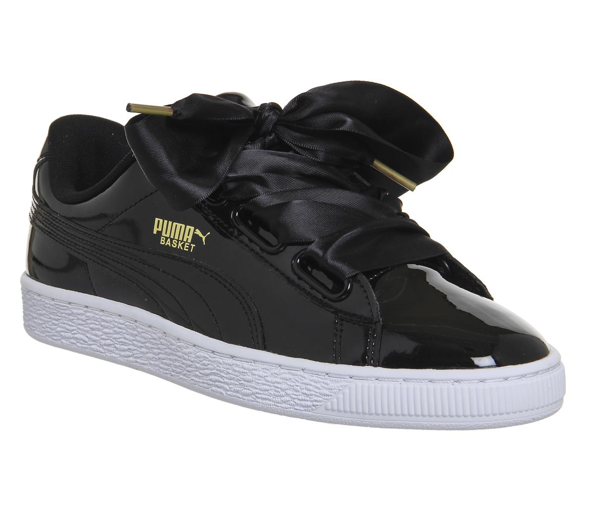 Puma Basket Heart Trainers Black Patent
