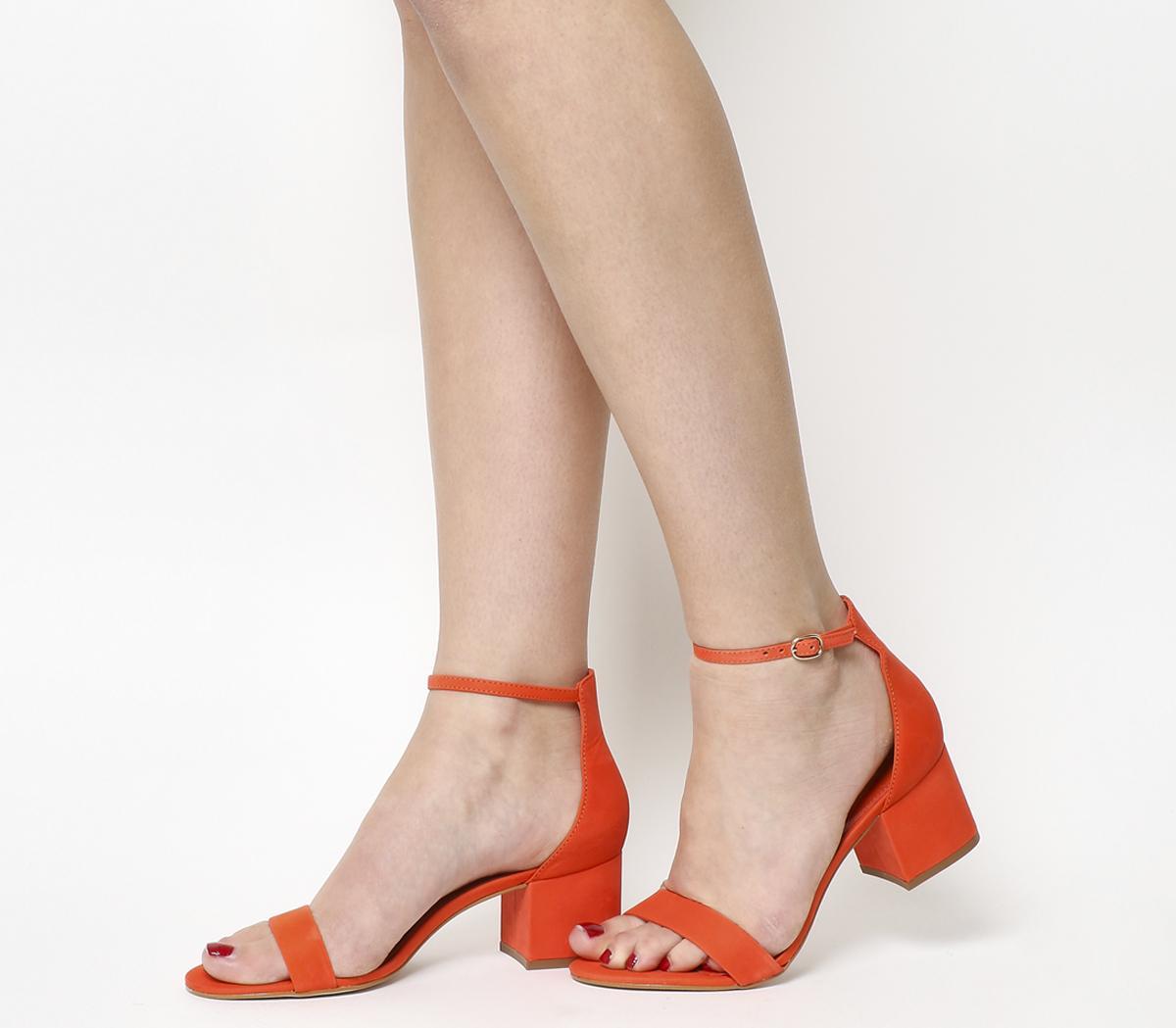 bright red block heels