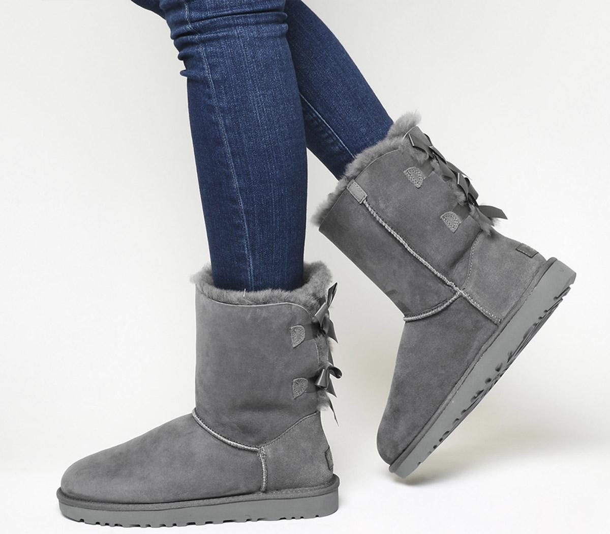 UGG Bailey Bow Ii Calf Boots Grey Suede