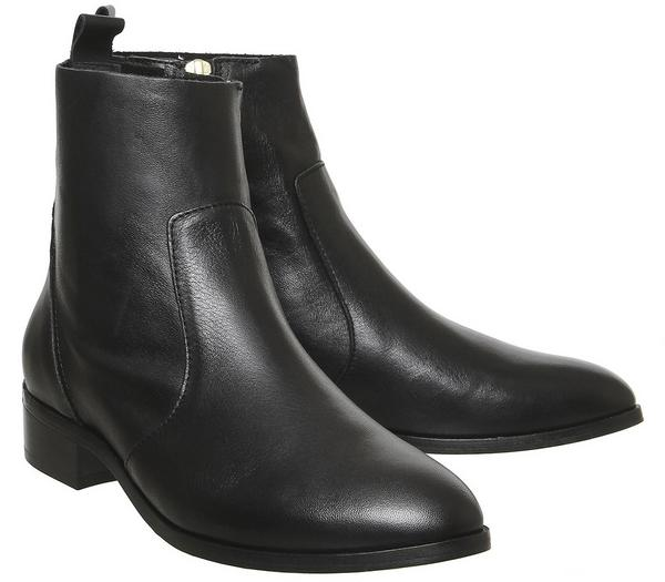 Office Ashleigh Flat Ankle Boots Black Leather With Branding - Ankle Boots xTJkG5C