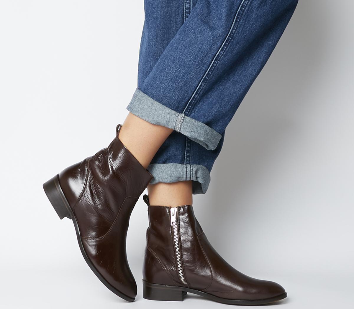 Office Ashleigh Flat Ankle Boots Choc