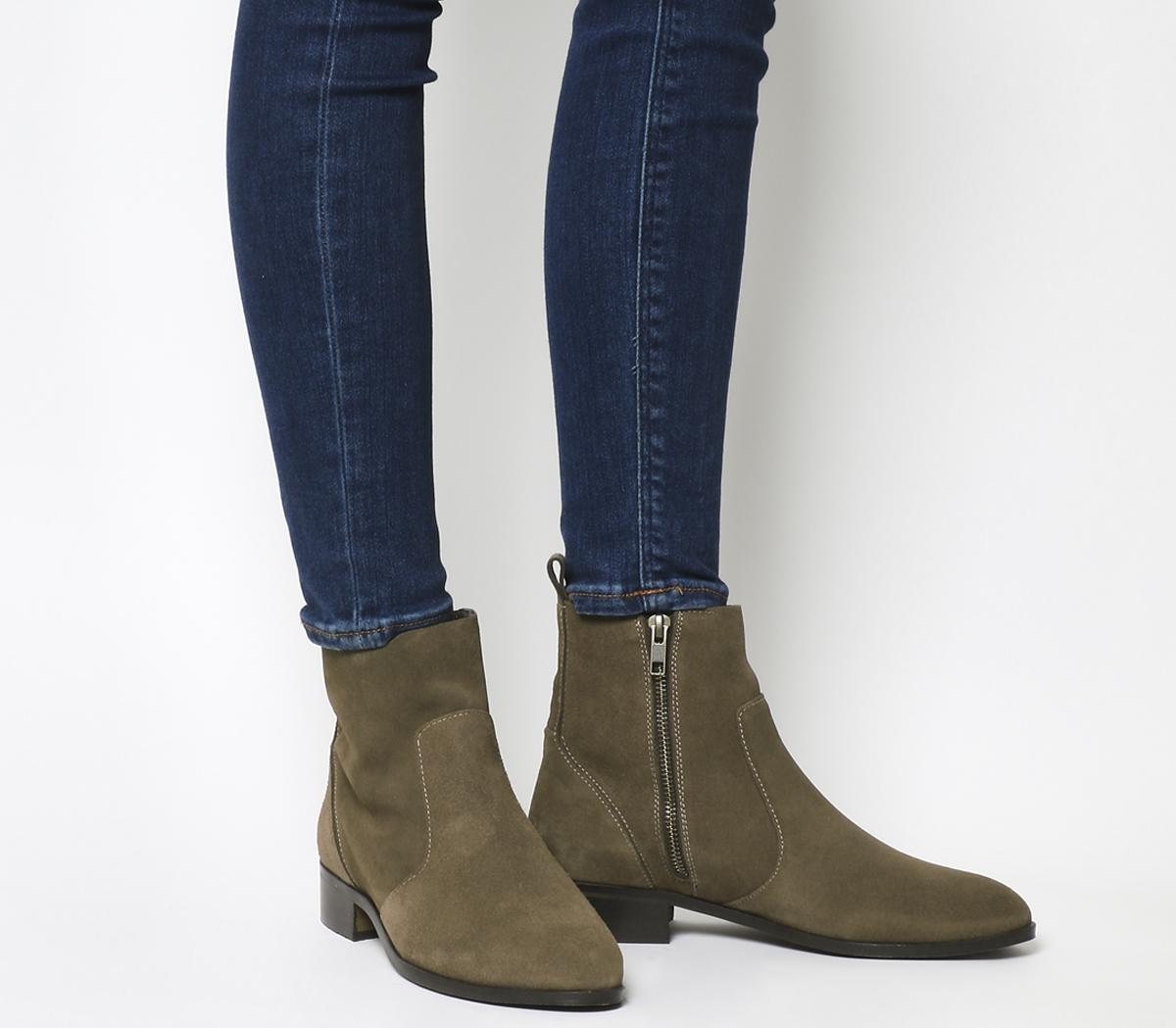 Office Ashleigh Flat Ankle Boots Taupe