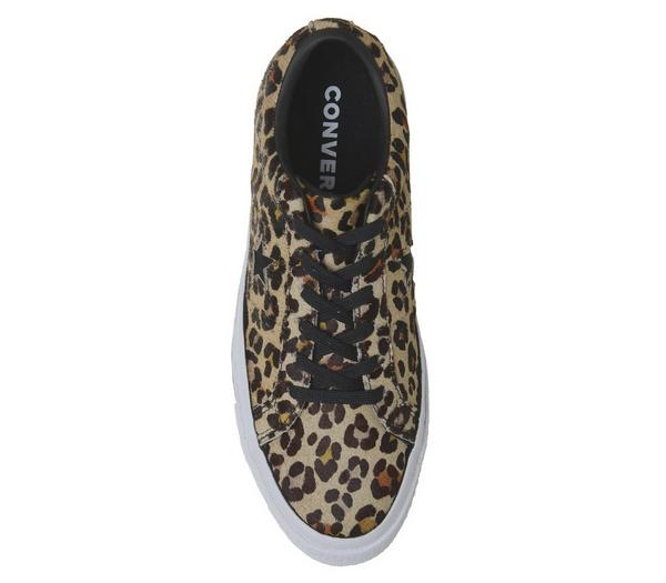Converse One Star Trainers Leopard Black White - Hers trainers BPItmog