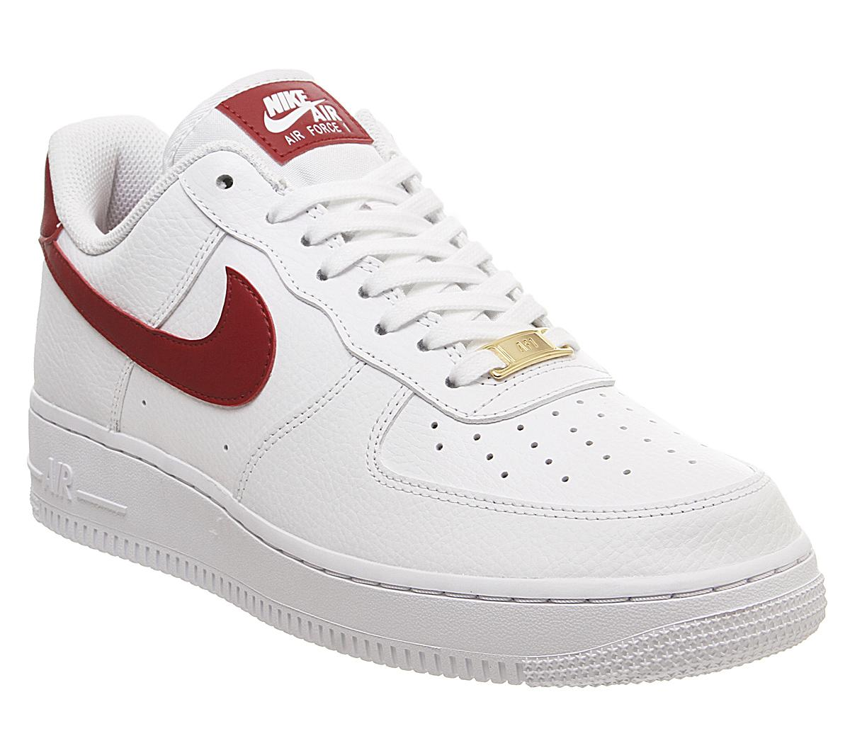 Nike Air Force 1 07 Trainers White Gym Red Metallic Gold
