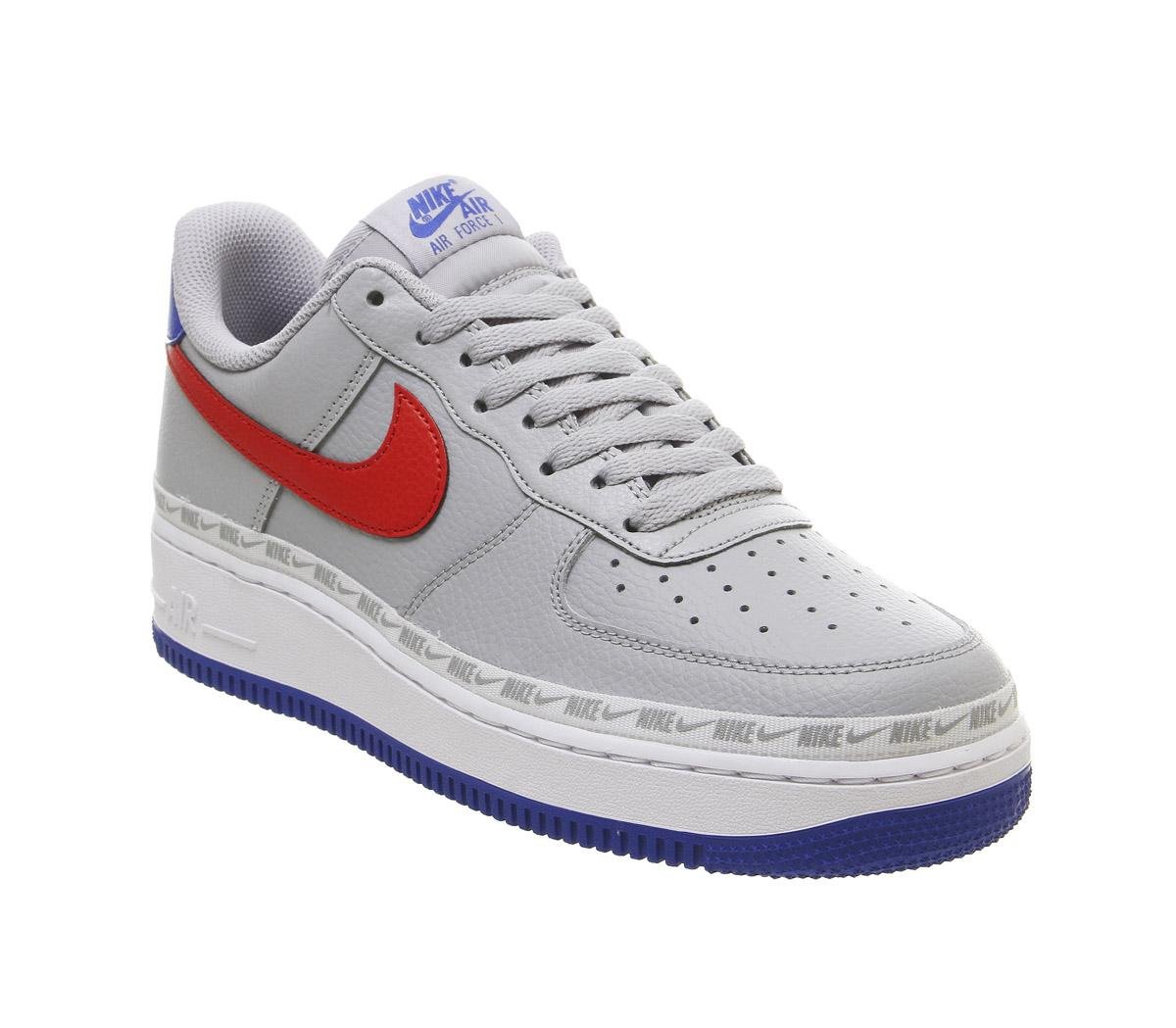grey and red air force ones