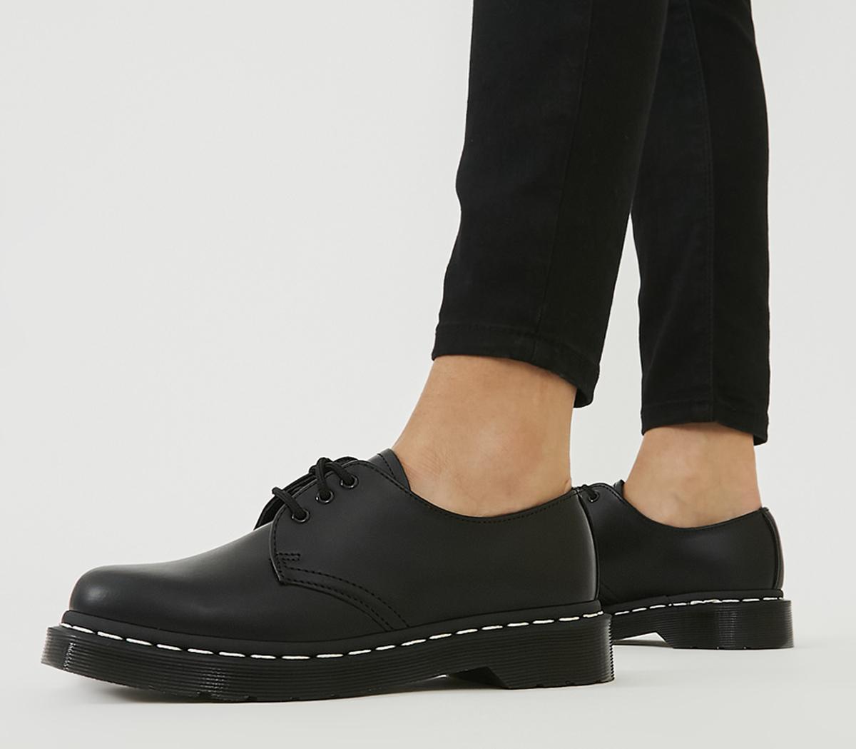 Dr. Martens 3 Eyelet Shoe Black White