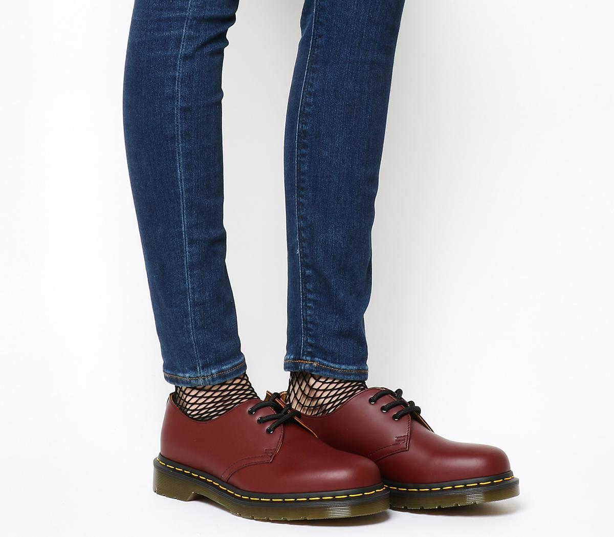 Dr. Martens 3 Eyelet Shoes Cherry Red