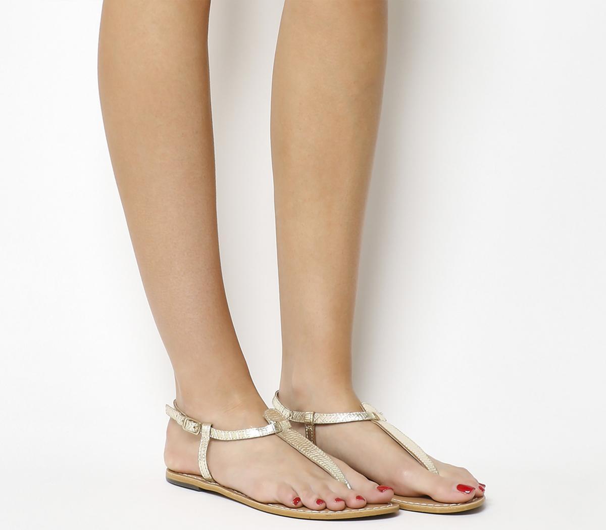 Office Samba Toe Post Sandals Gold Croc