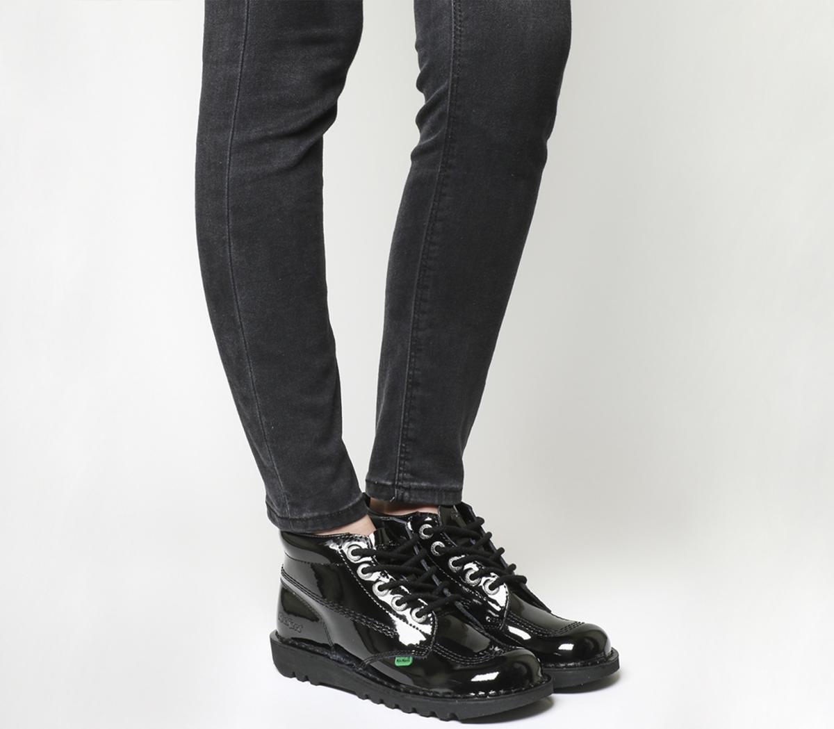 Kickers Kick Hi (g) Black Patent - Flats