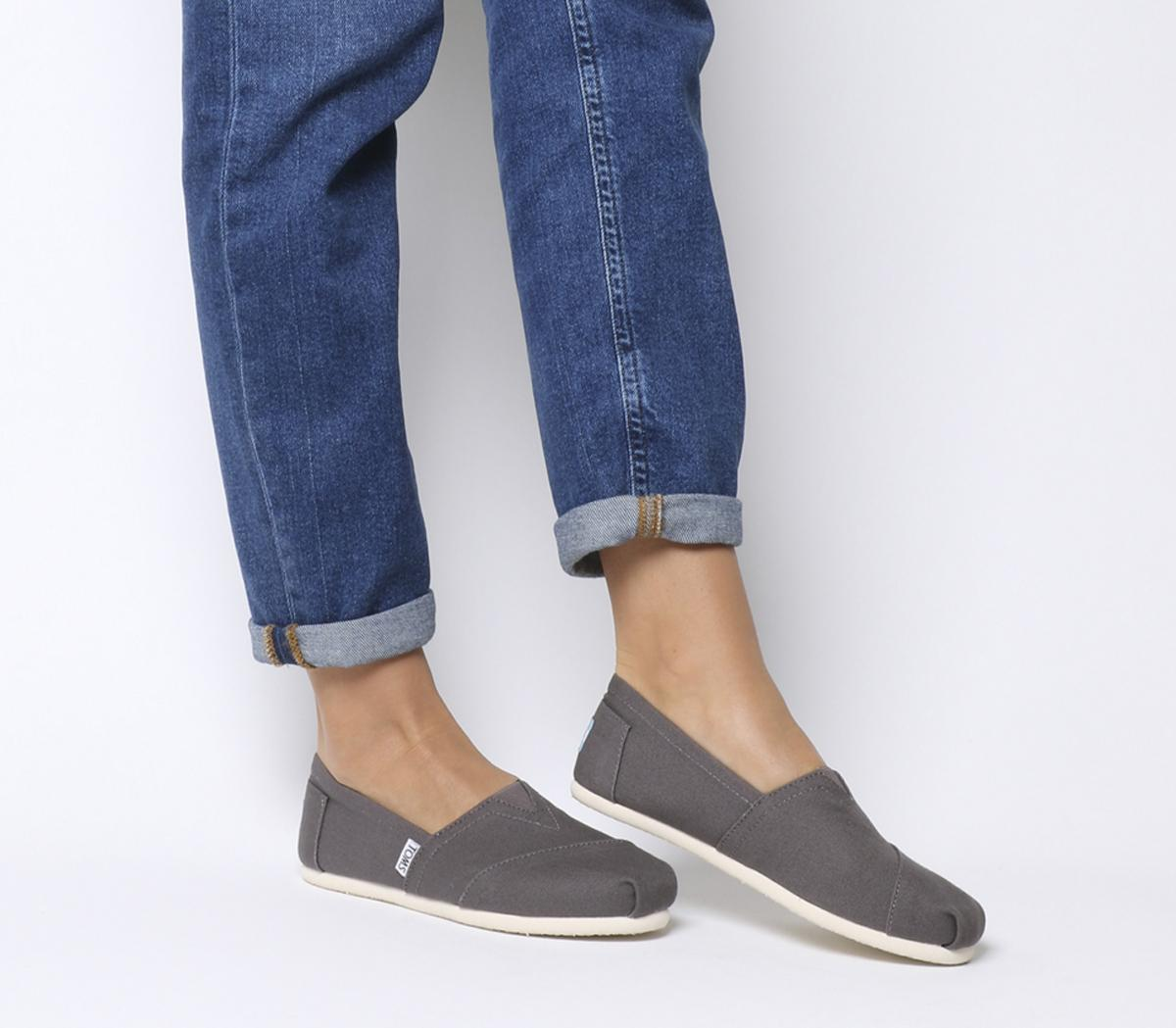 Toms Classic Slip Ons Ash Grey Canvas