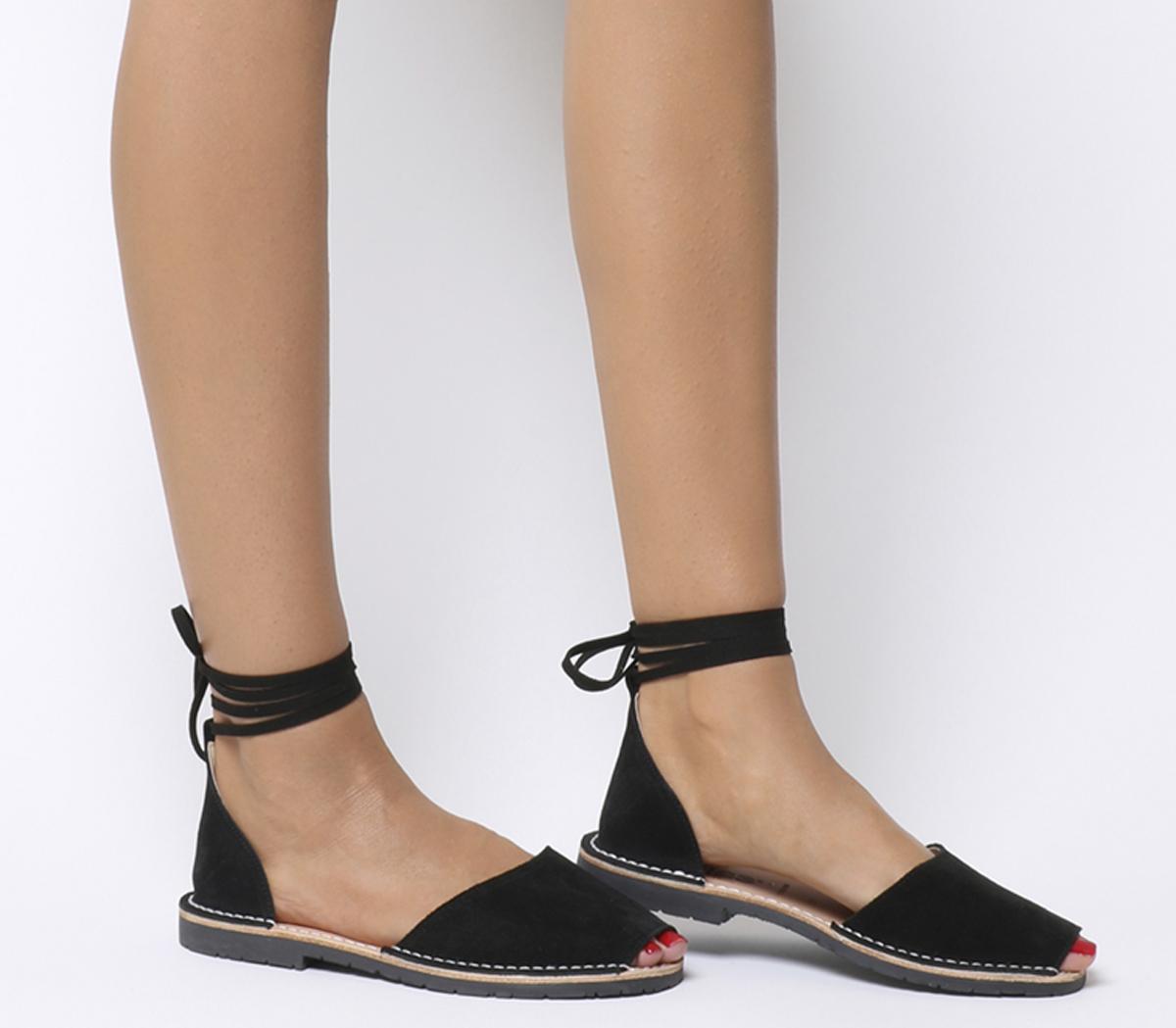 Solillas Ankle Tie Sandals Black Suede