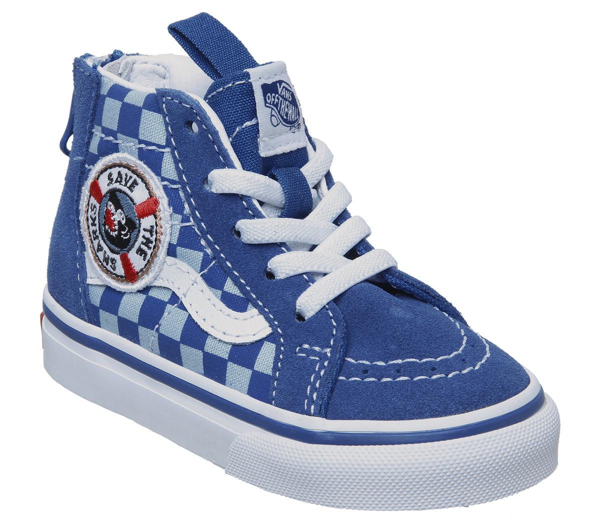 Vans Sk8 Hi Zip Toddler Trainers Blue