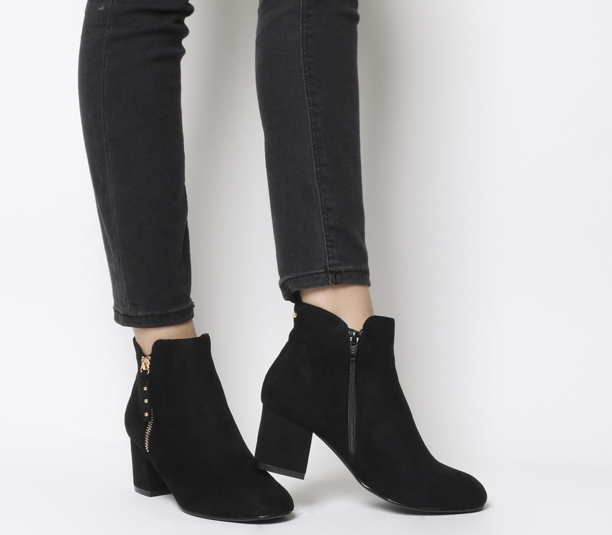 Office Alicia Side Zip Boots Black Gold