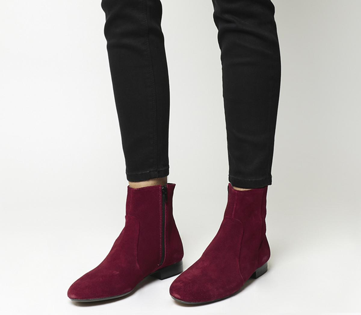 Office Avenue Flat Casual Boots Red