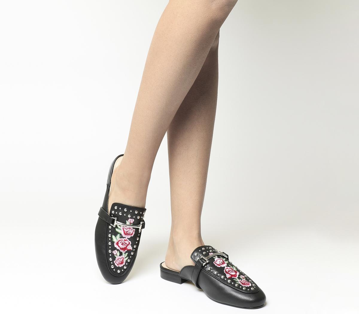 Facade Embroidered Flat Mules
