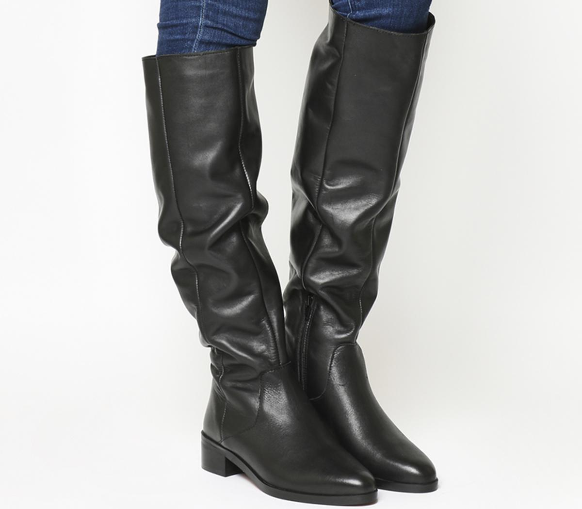 Office Kove Flat Slouch Boots Black