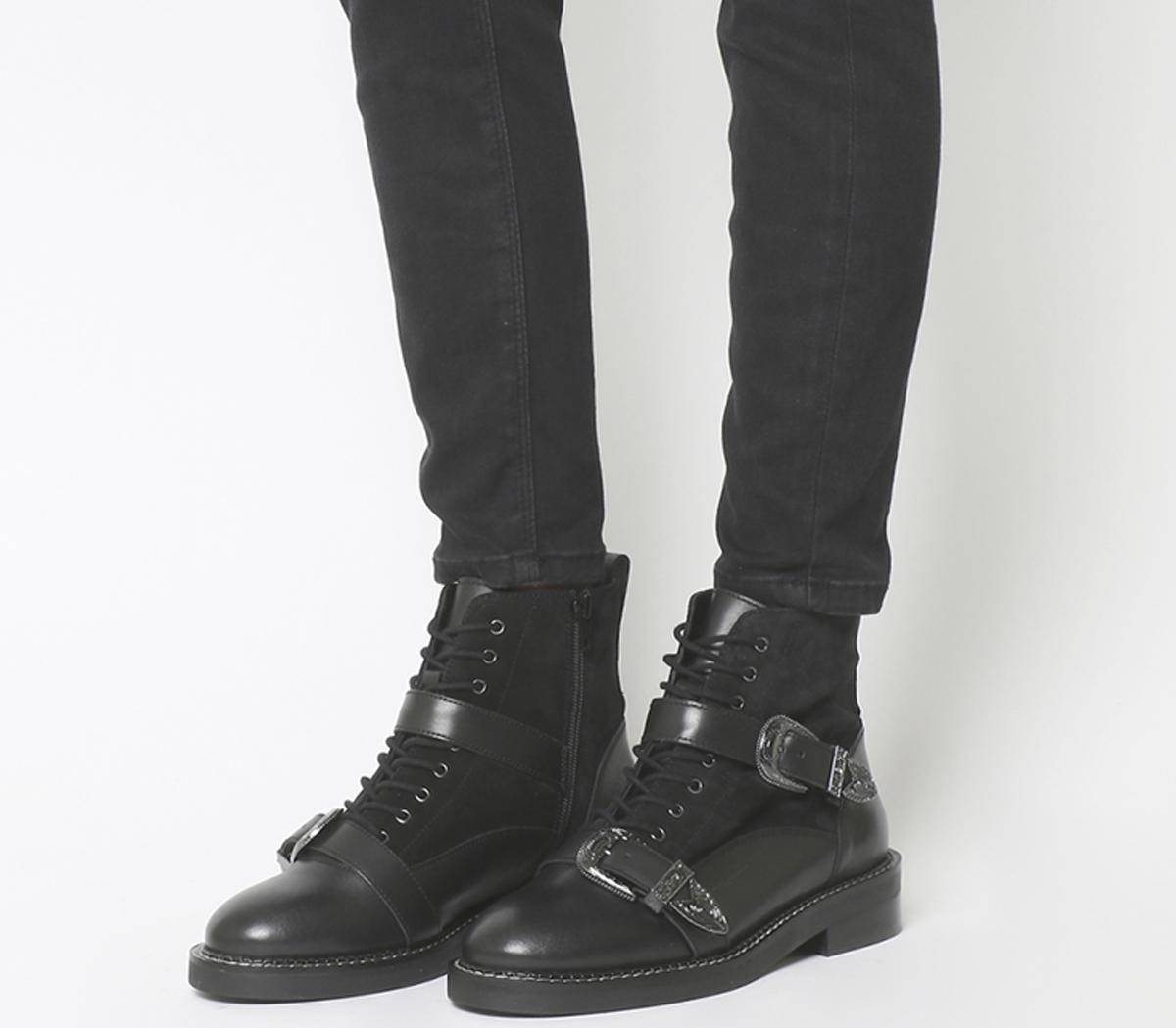 Office Asteroid Lace Up Buckle Boots