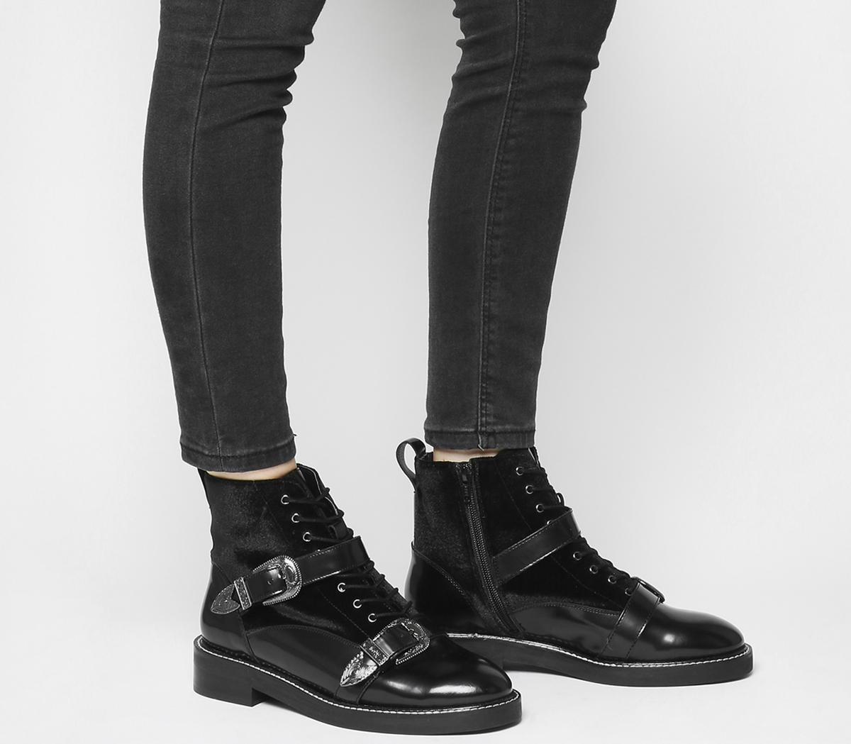 Asteroid Lace Up Buckle Boots