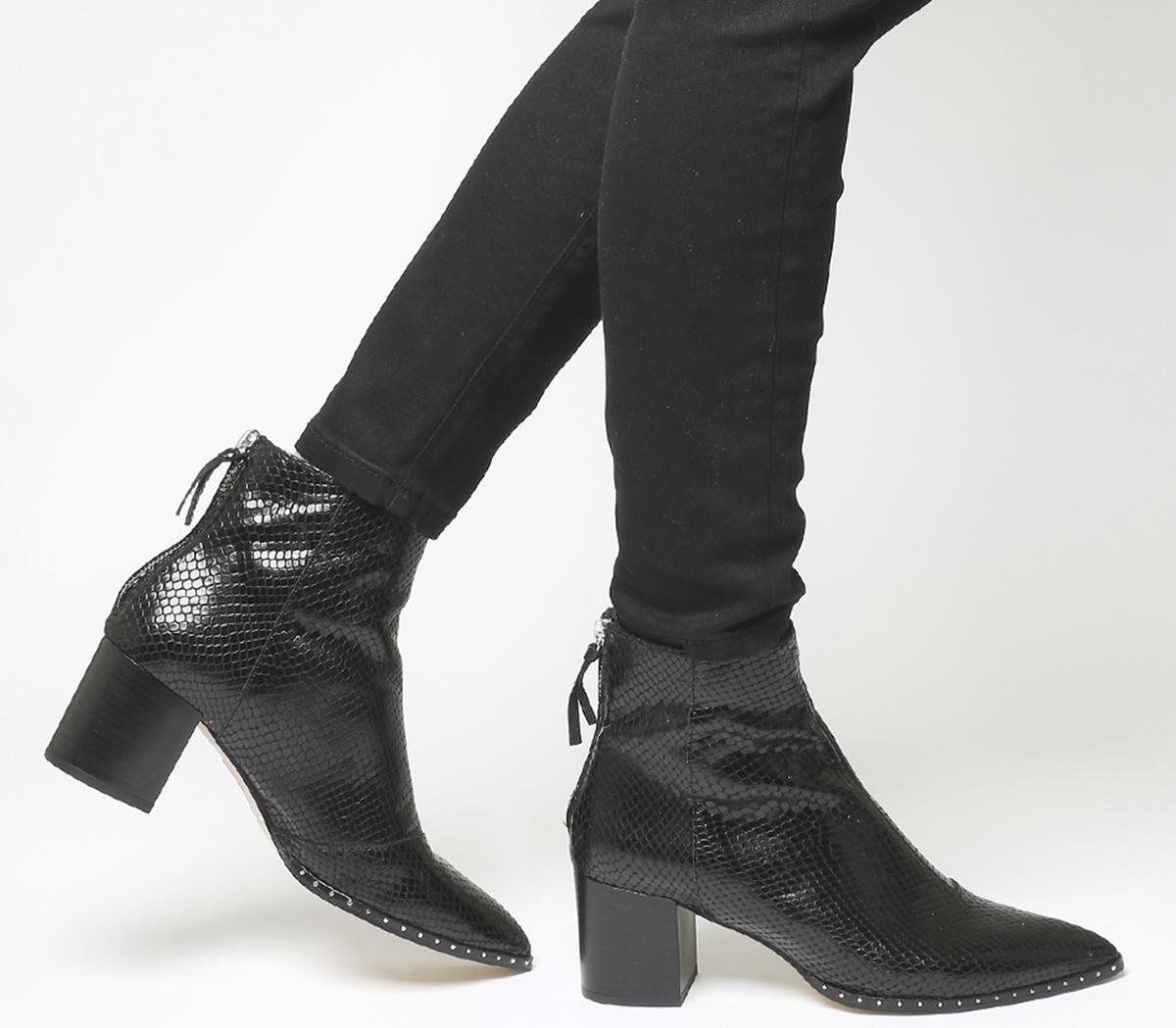 Women Black 100/% Real Leather Snakeskin Back Block Heel Side Zipped Ankle Boots