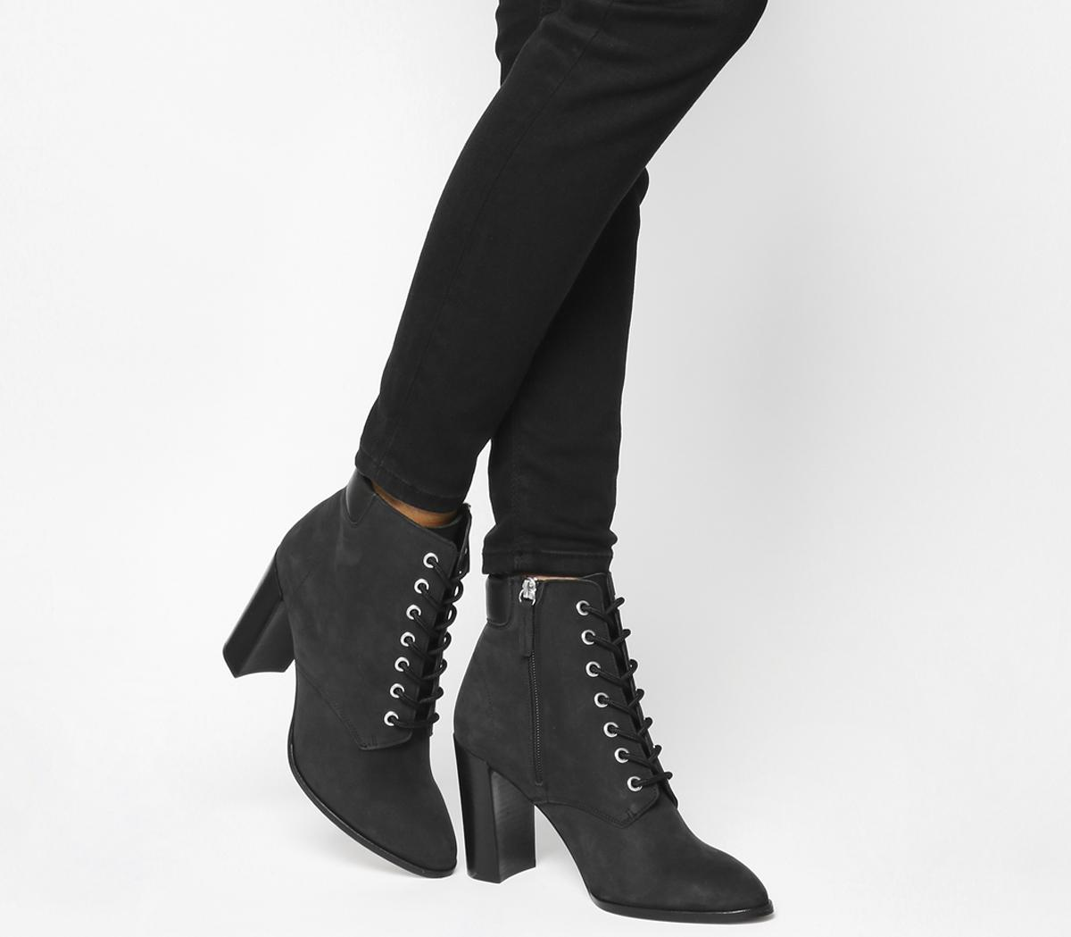 Attitude Lace Up Block Heel Boots