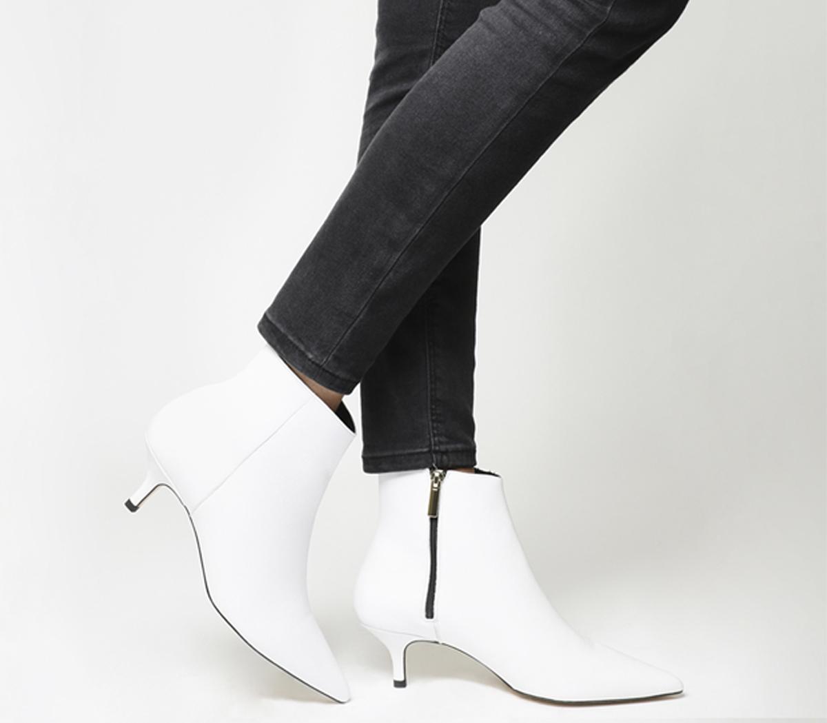 Office Alibi Kitten Heel Boots White