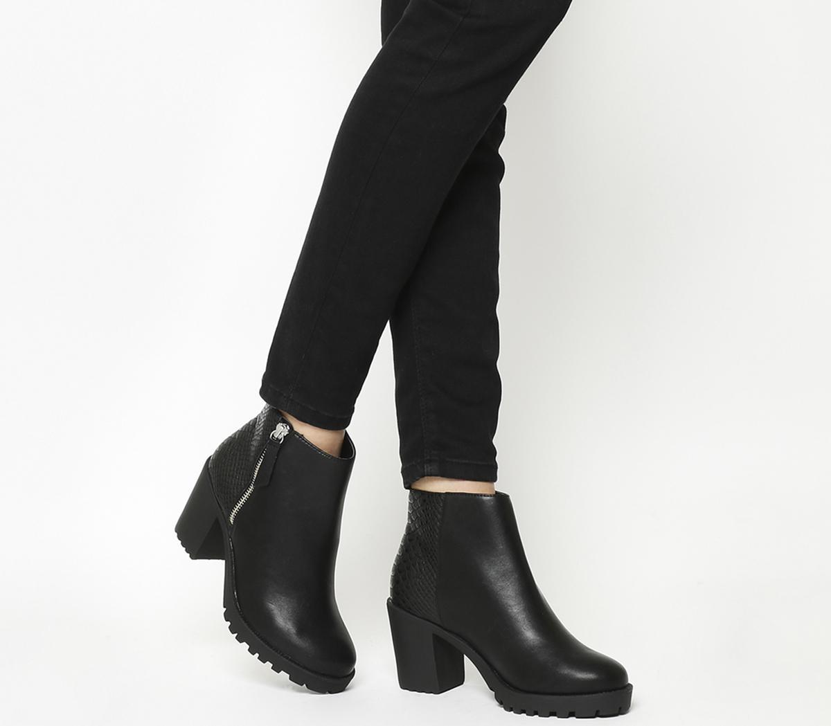 Abstract Block Heel Boots