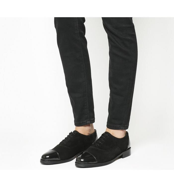 Office Office Face Up Lace Up With Patent Toe Cap BLACK SUEDE PATENT TOE CAP