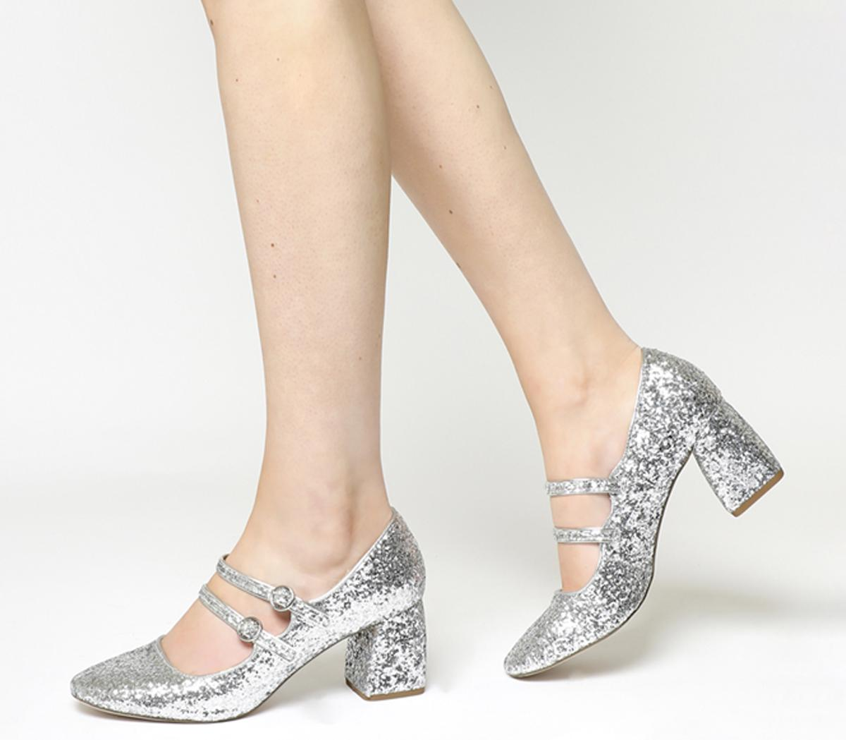 Office Milly Glitter Mary Jane Silver