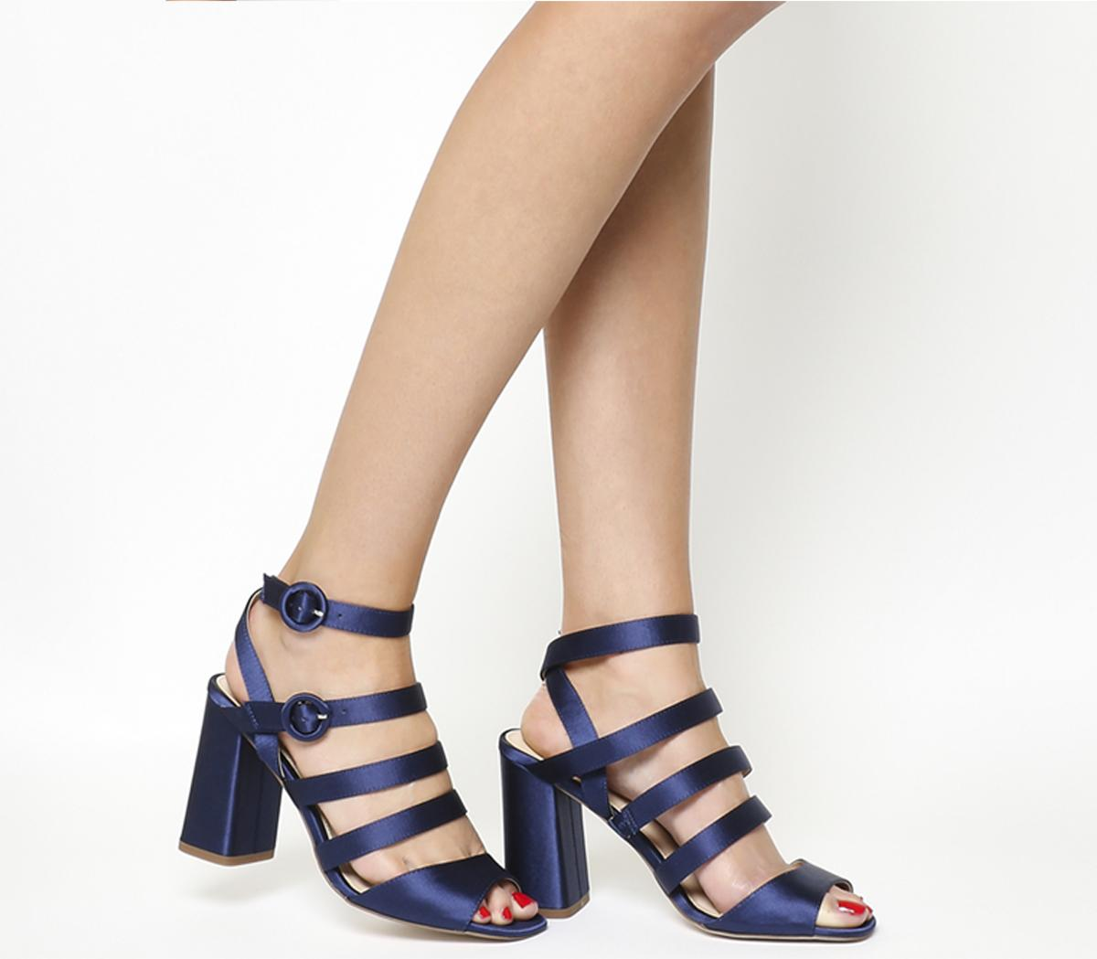 Home Time Square Toe Strappy Block Heels