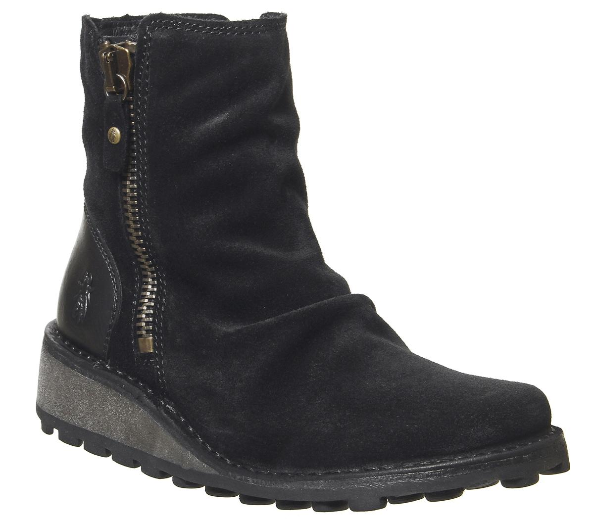 Fly London Mon Zip Boots Black Suede