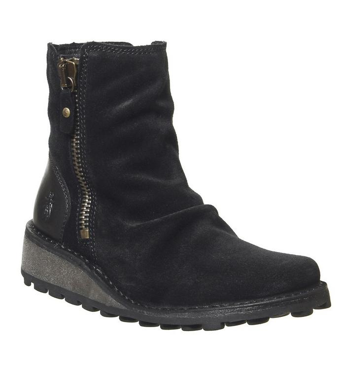 Fly London Fly London Mon Zip Boot BLACK SUEDE