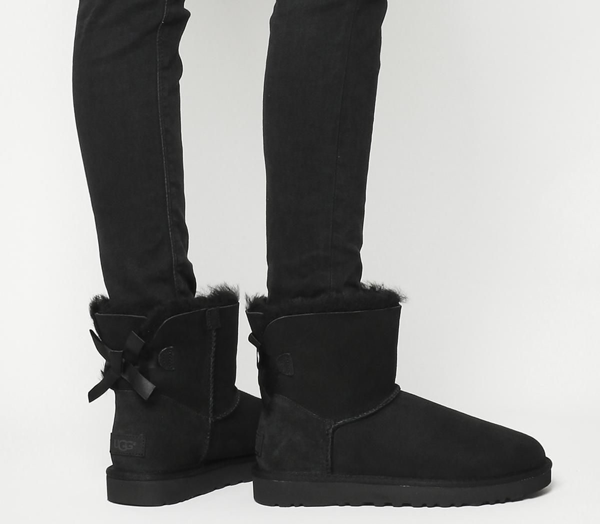 UGG Mini Bailey Bow Boots Black Suede