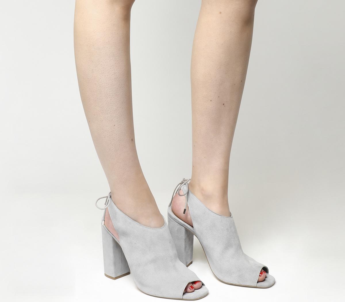 Hannah Peep Toe Shoe Boots Grey Suede