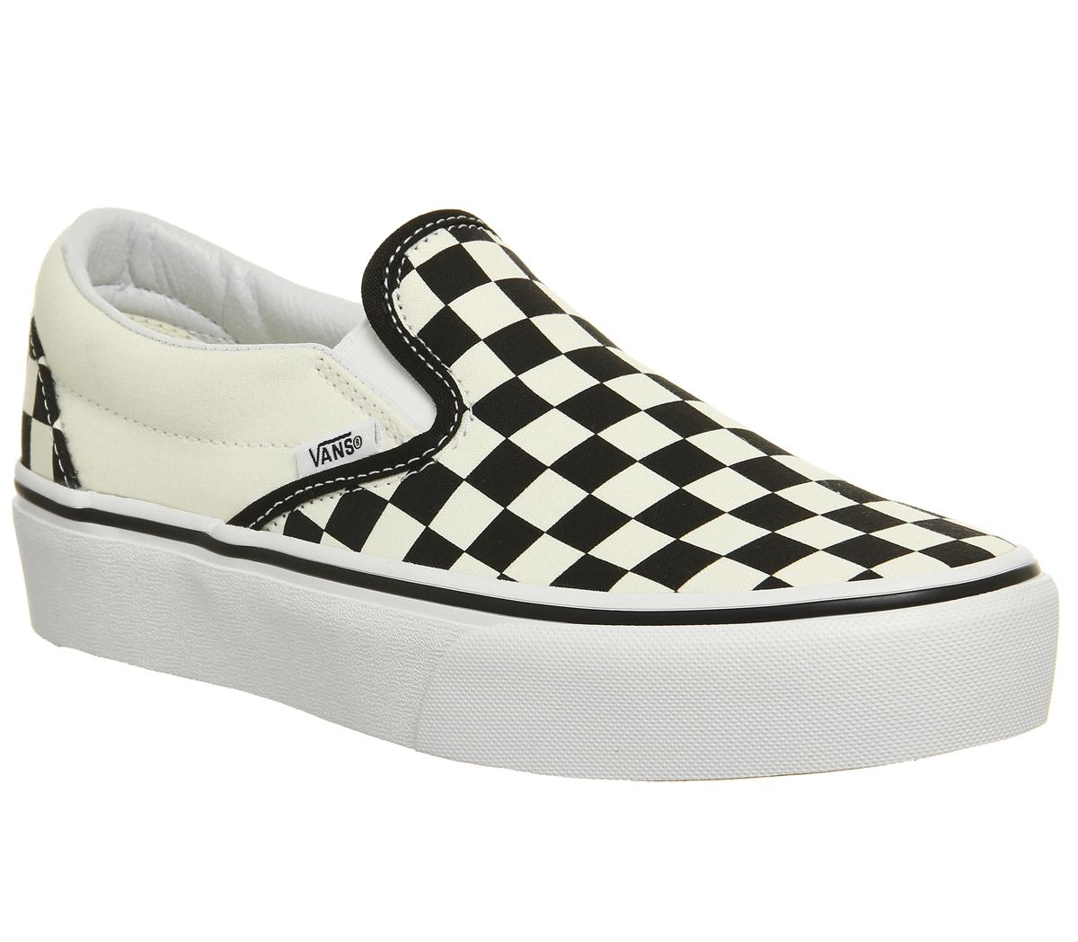 checkered vans white and black