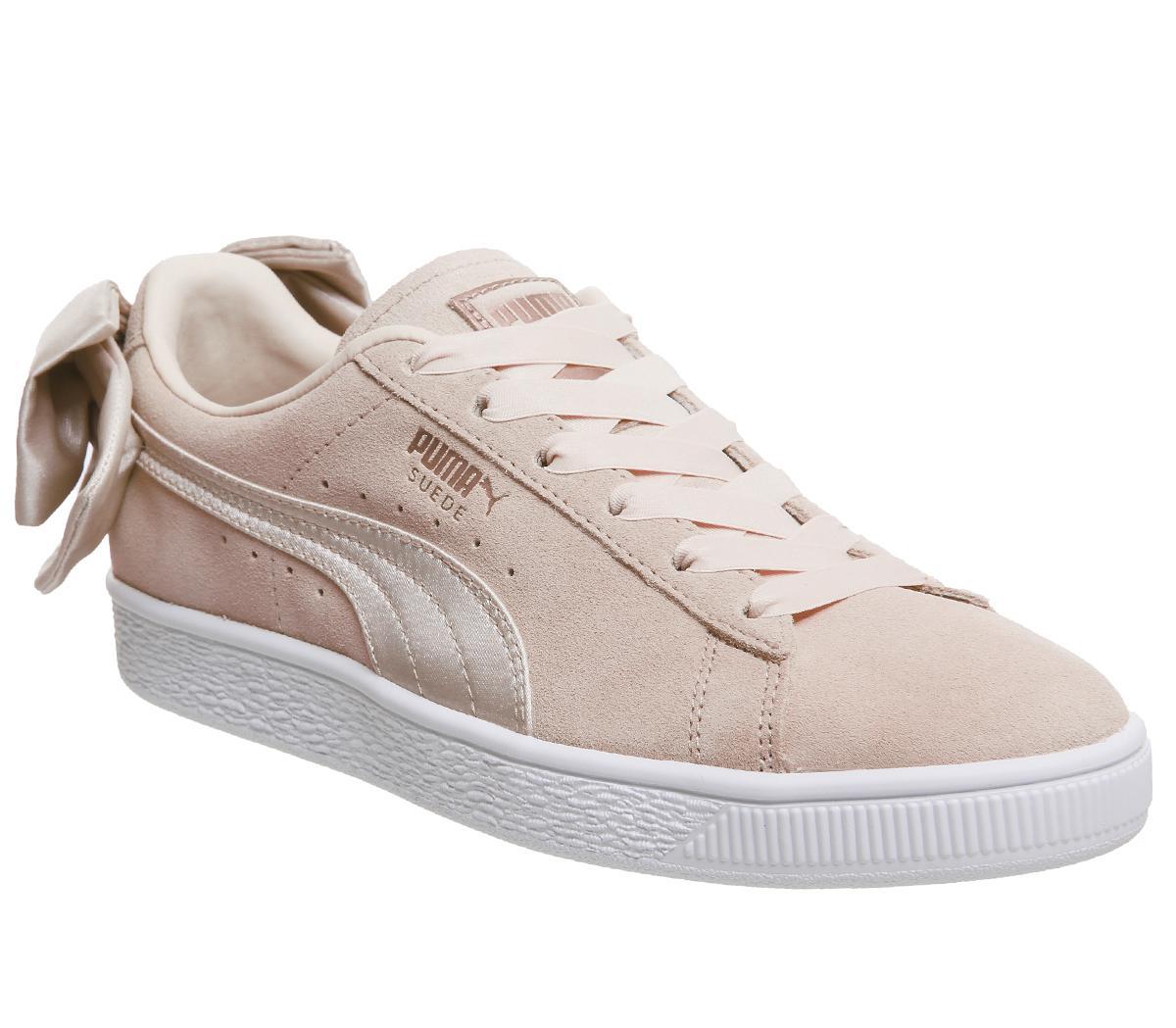 Puma Suede Bow Trainers Cream Tan