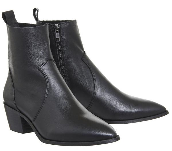 Office Auburn High Cut Unlined Boots Black Leather - Ankle Boots j5PDczV