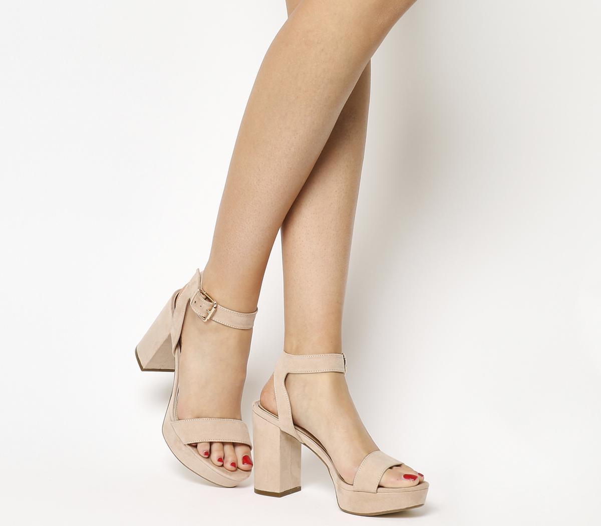Office Mossy Platform Sandals Nude
