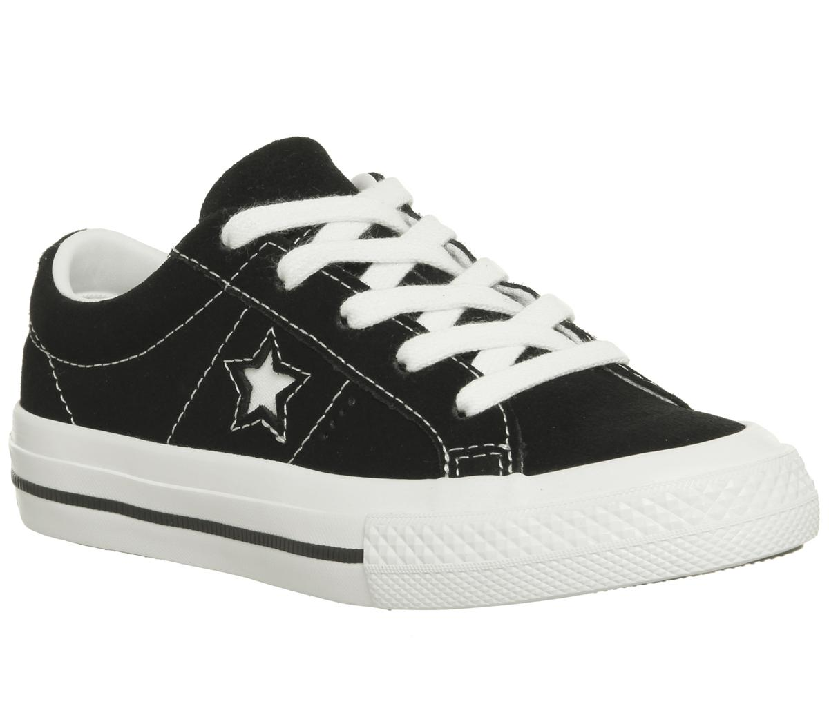 Converse One Star Youth Trainers Black White - Unisex