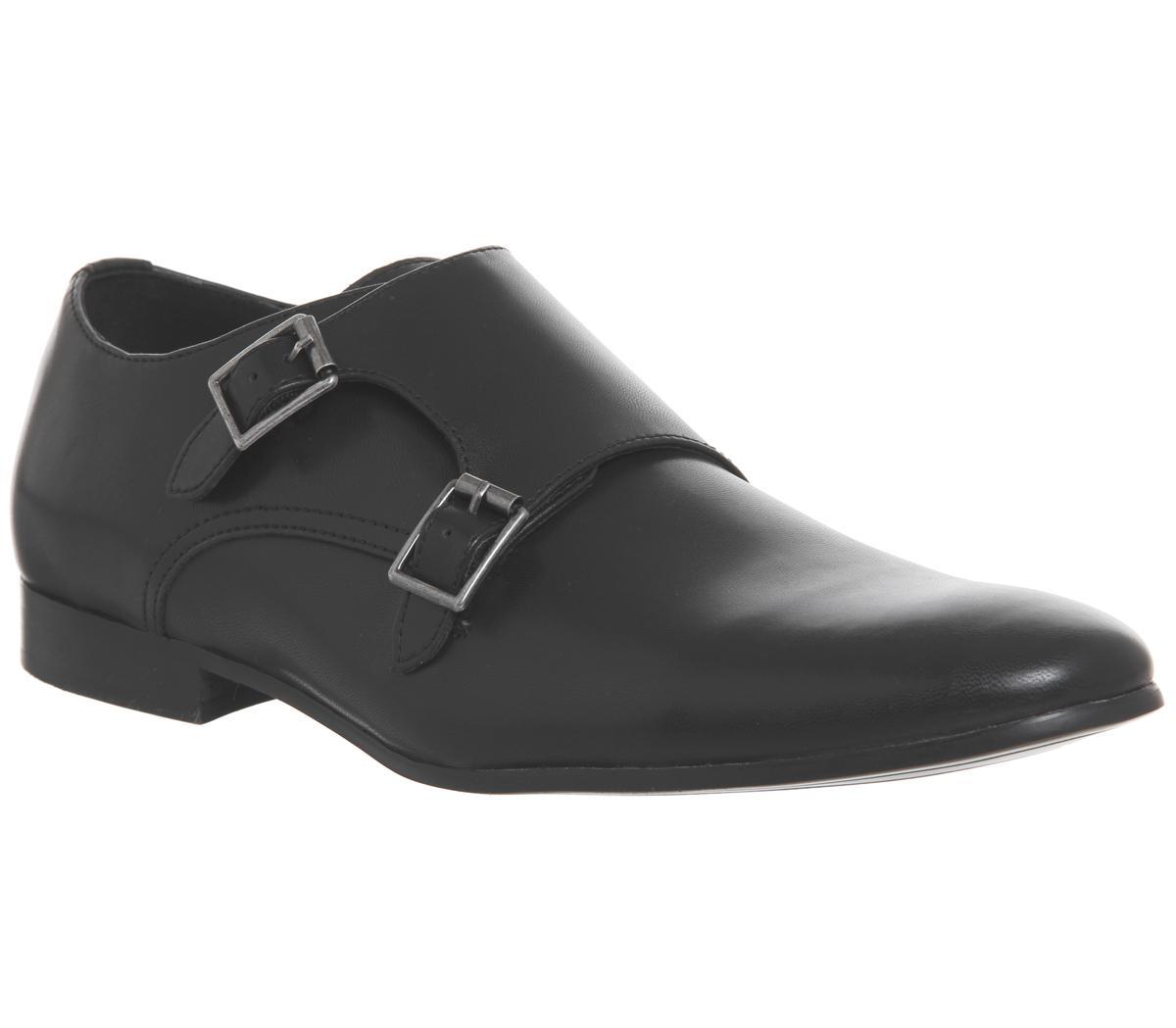 Office Fox Monk Shoes Black Smart